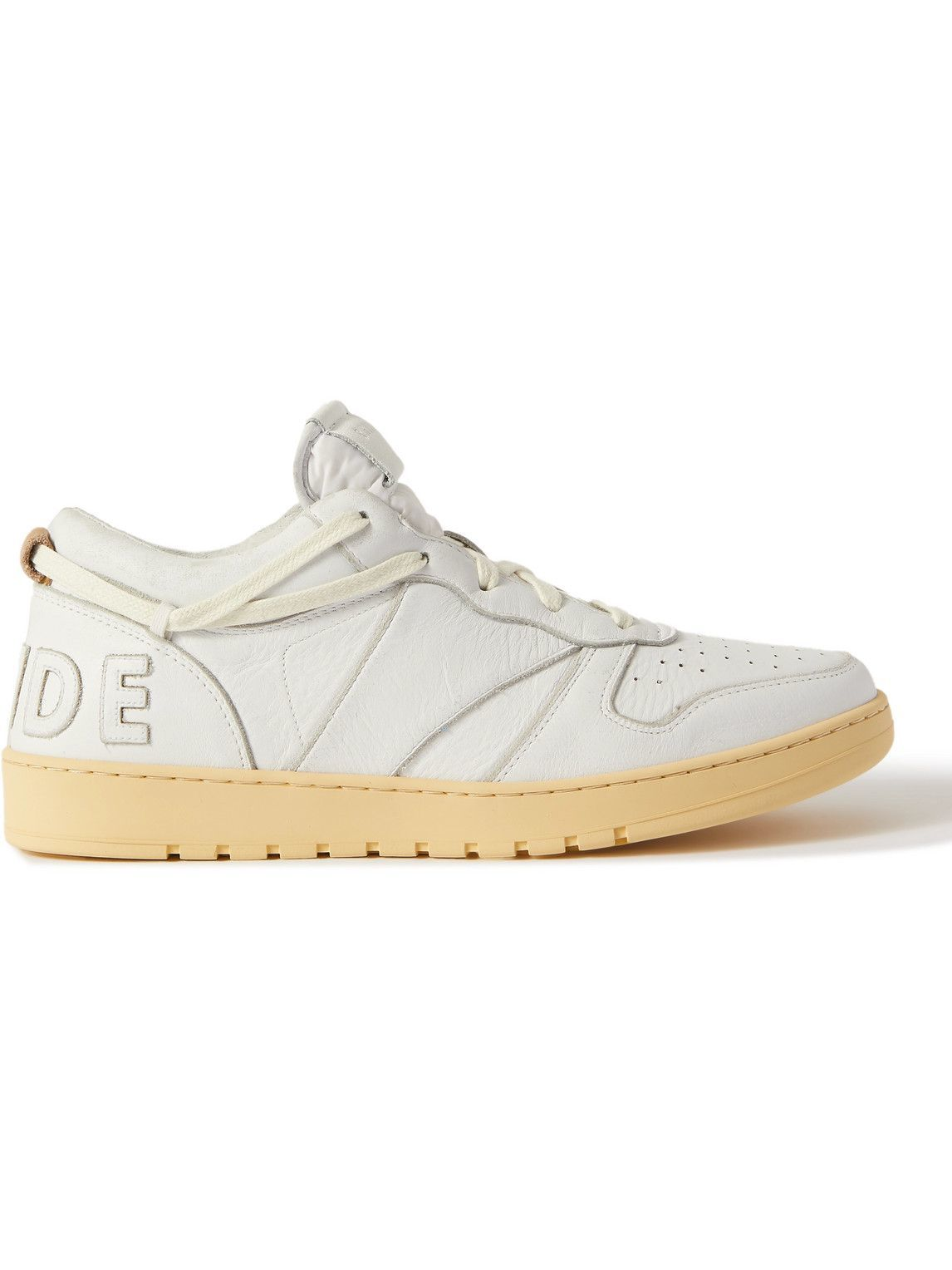 Photo: Rhude - Rhecess Logo-Appliquéd Distressed Leather Sneakers - White