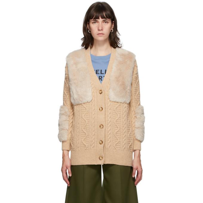 Stella McCartney Beige Faux Fur Cardigan