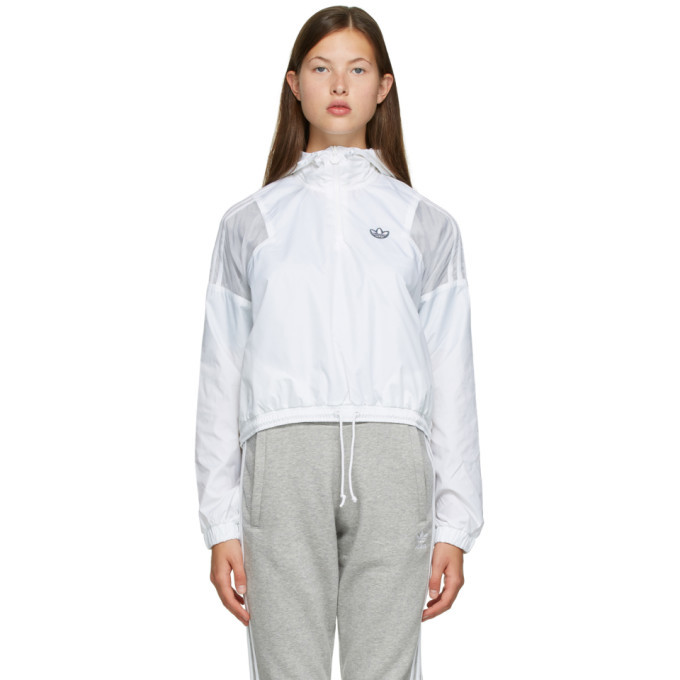 adidas Originals White Cropped Windbreaker Jacket