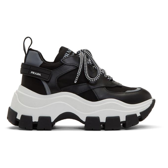 Prada Black and White Chunky Sneakers Prada
