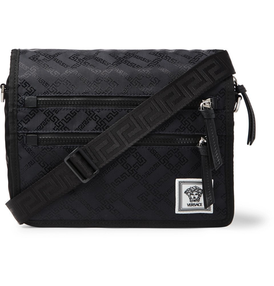Photo: Versace - Leather-Trimmed Printed Nylon Messenger Bag - Black