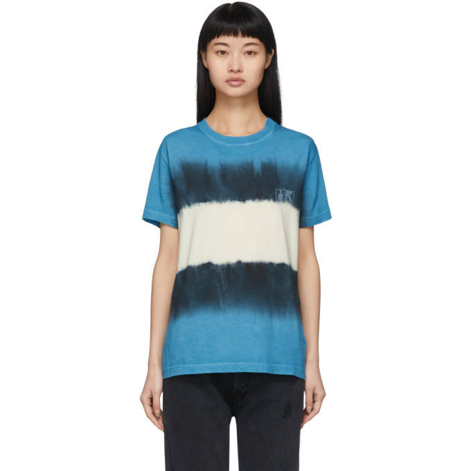 Photo: Off-White Blue and White Tie-Dye Skinny Arrows T-Shirt