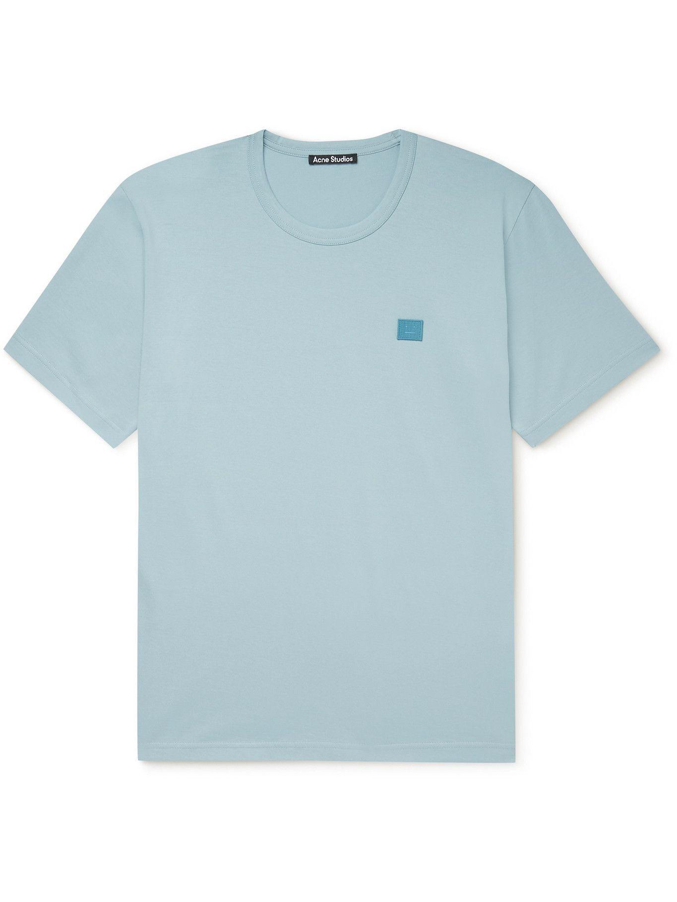 Photo: ACNE STUDIOS - Nash Logo-Appliquéd Cotton-Jersey T-Shirt - Blue