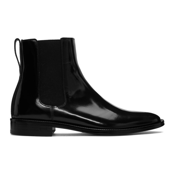 Photo: AMI Alexandre Mattiussi Black Patent Chelsea Boots