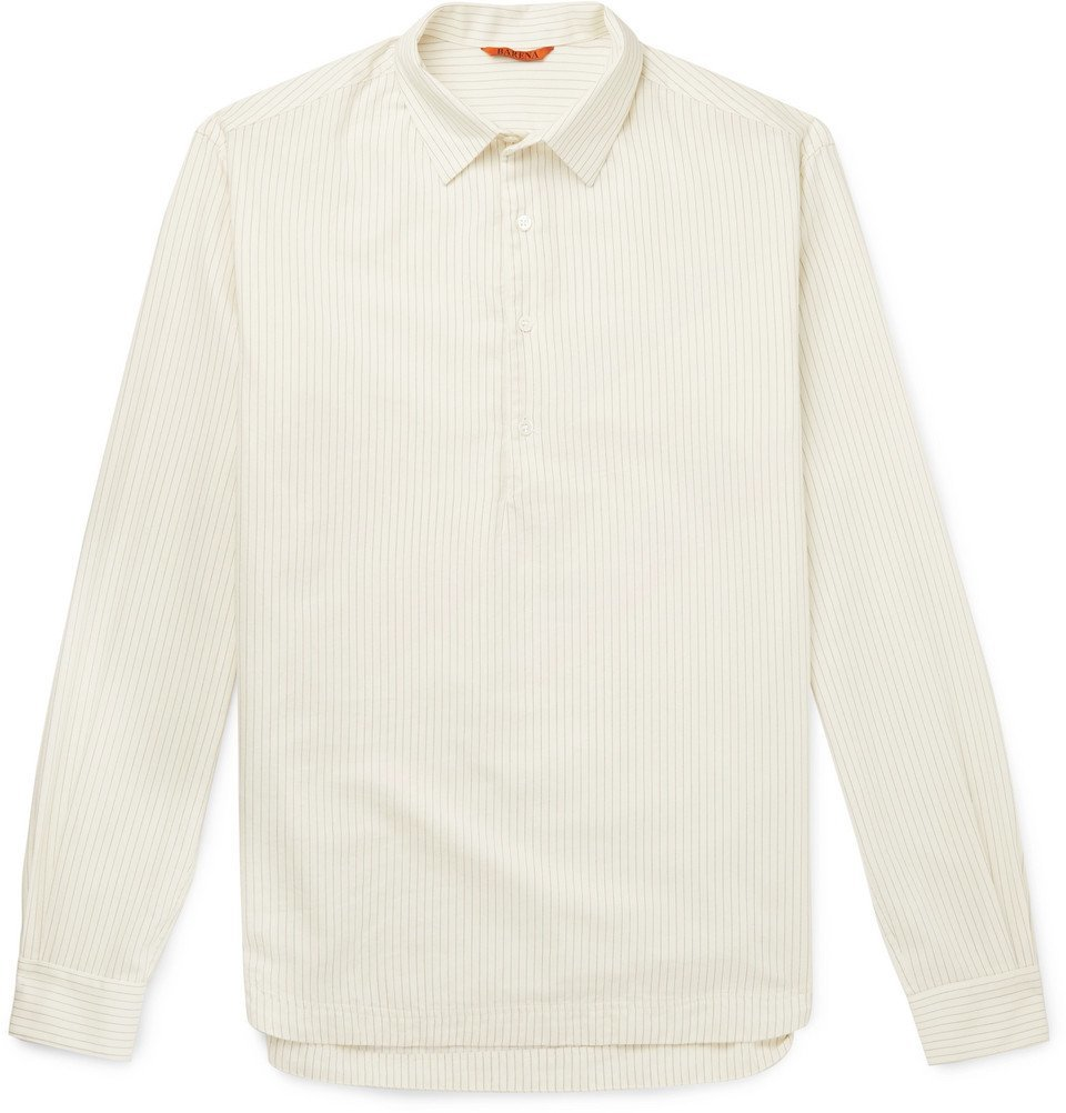 Photo: Barena - Striped Cotton and Wool-Blend Half-Placket Shirt - Off-white