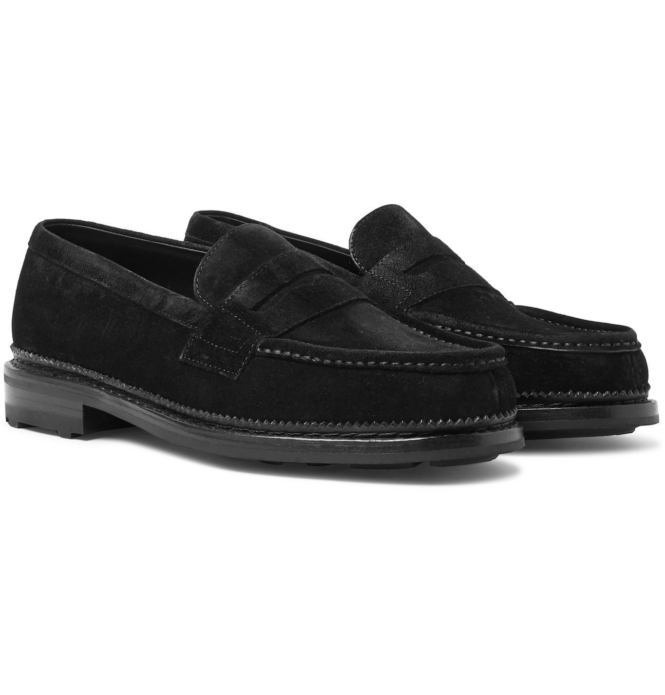 Photo: J.M. Weston - Suede Penny Loafers - Black