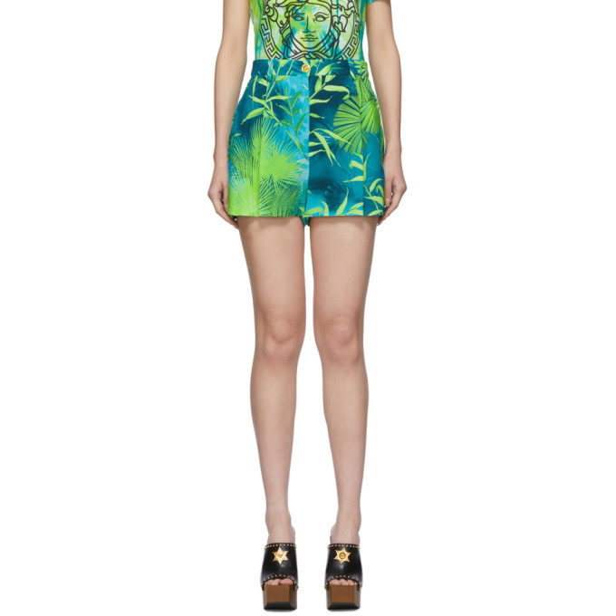 Photo: Versace Green Jungle Print Shorts