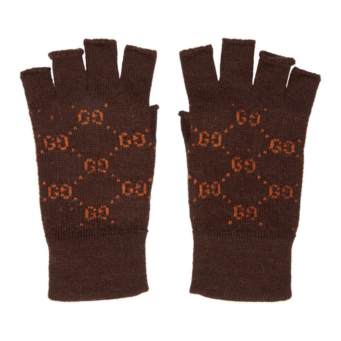 Photo: Gucci Brown and Orange GG Supreme Fingerless Gloves