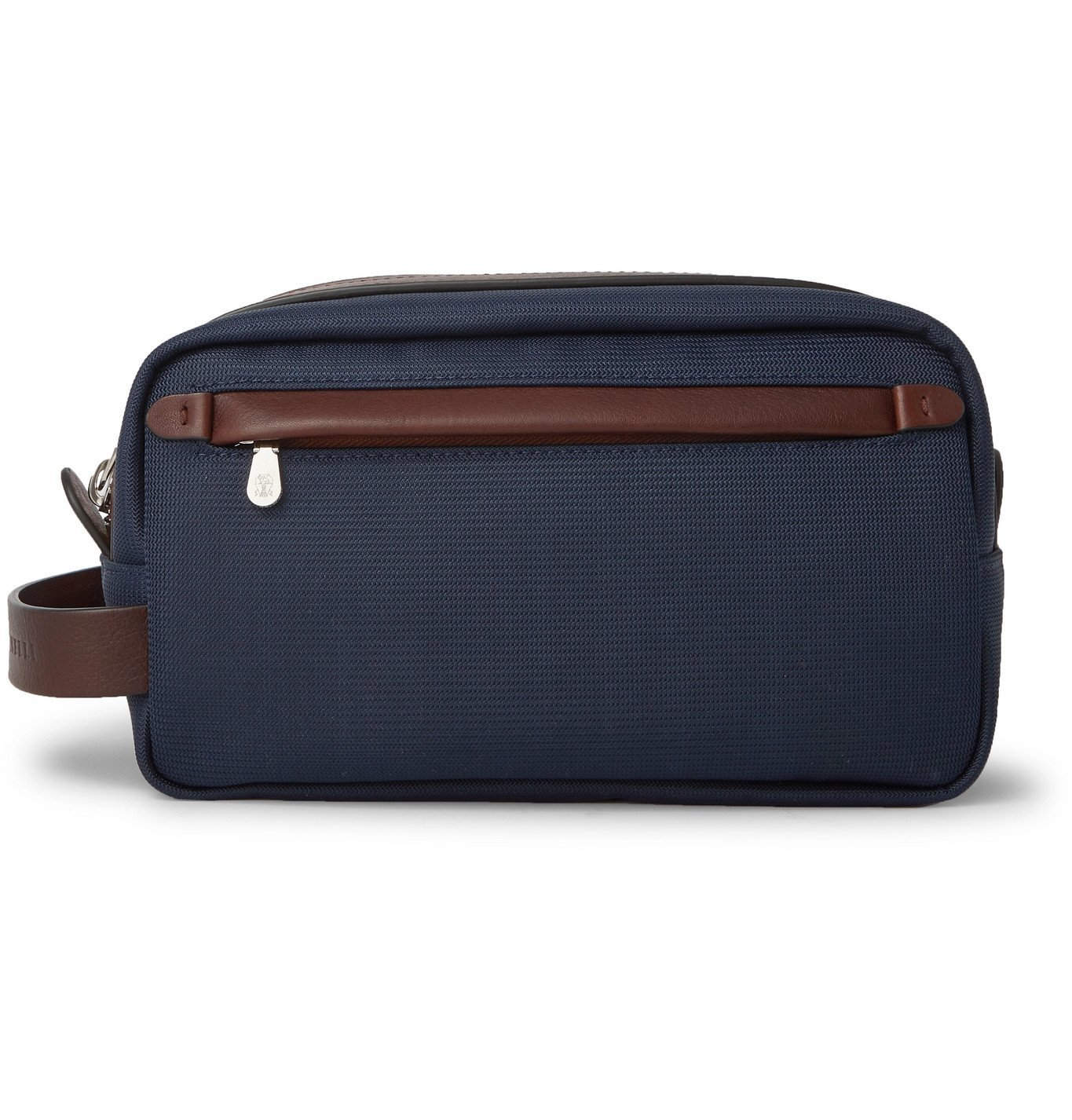 Photo: Brunello Cucinelli - Leather-Trimmed Nylon Wash Bag - Blue