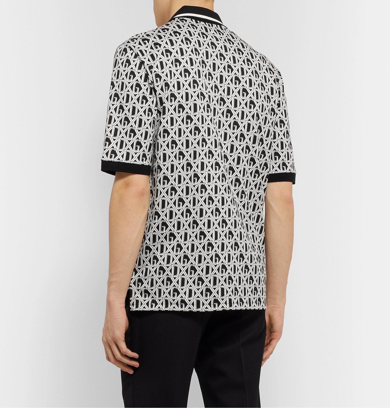 Dolce & Gabbana - Slim-Fit Logo-Print Cotton-Jersey Shirt - Black