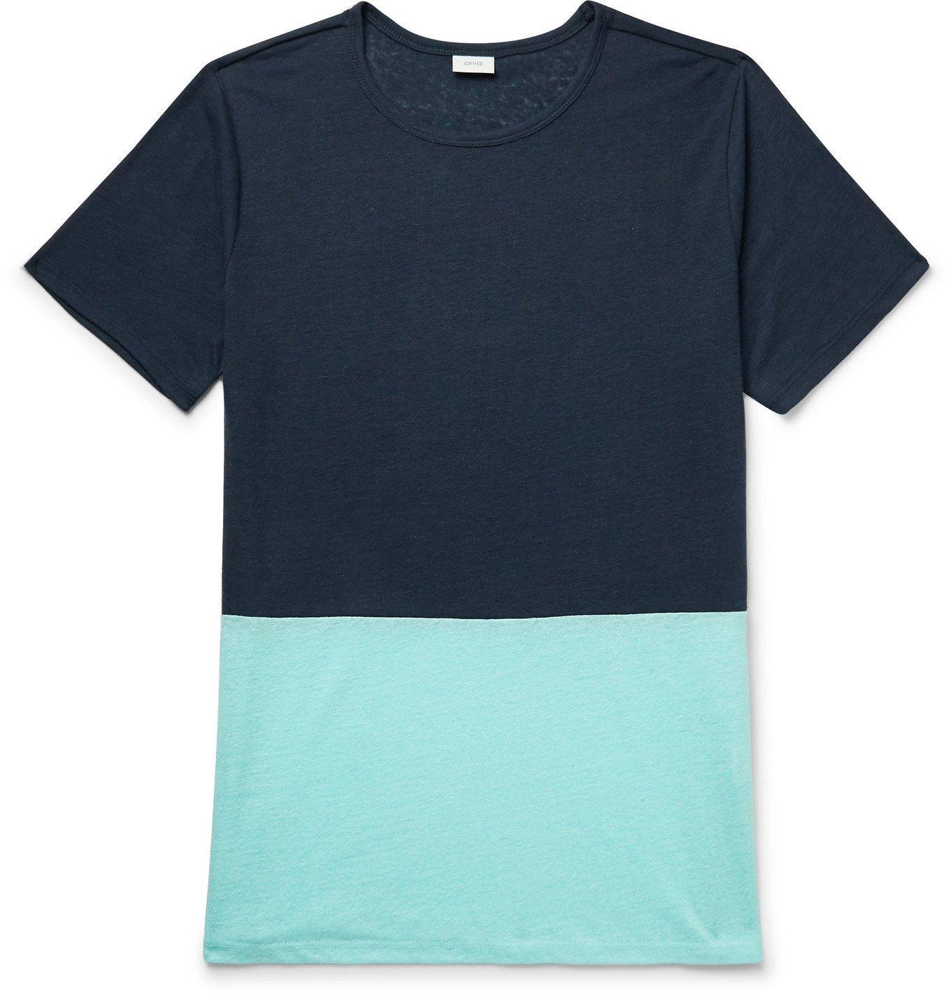 Photo: Onia - Chad Colour-Block Linen-Blend T-Shirt - Blue