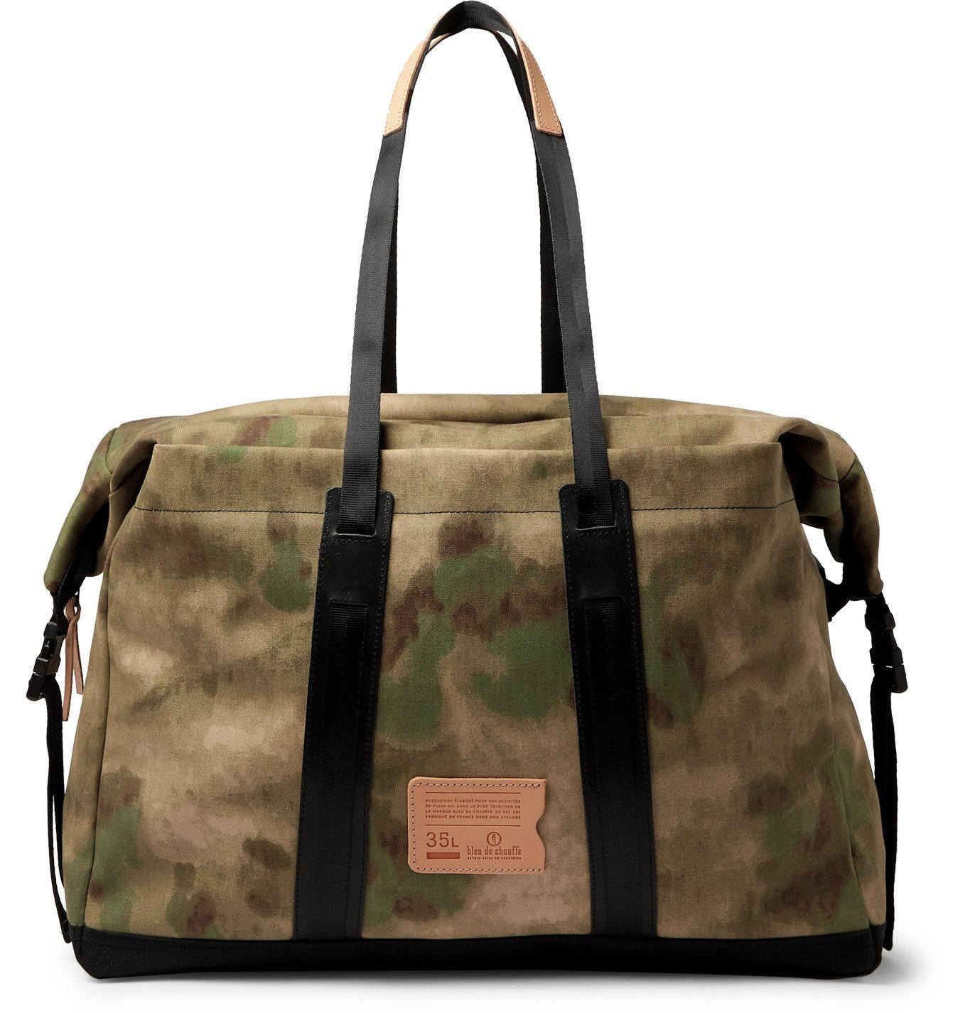 Photo: Bleu de Chauffe - Leather-Trimmed Camouflage-Print Cotton-Canvas Holdall - Green