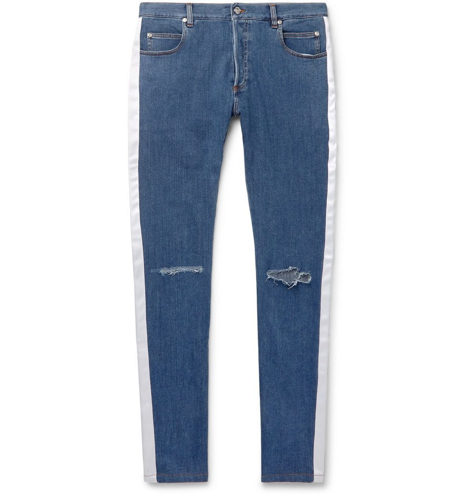 Photo: Balmain - Skinny-Fit Satin-Trimmed Distressed Denim Jeans - Blue