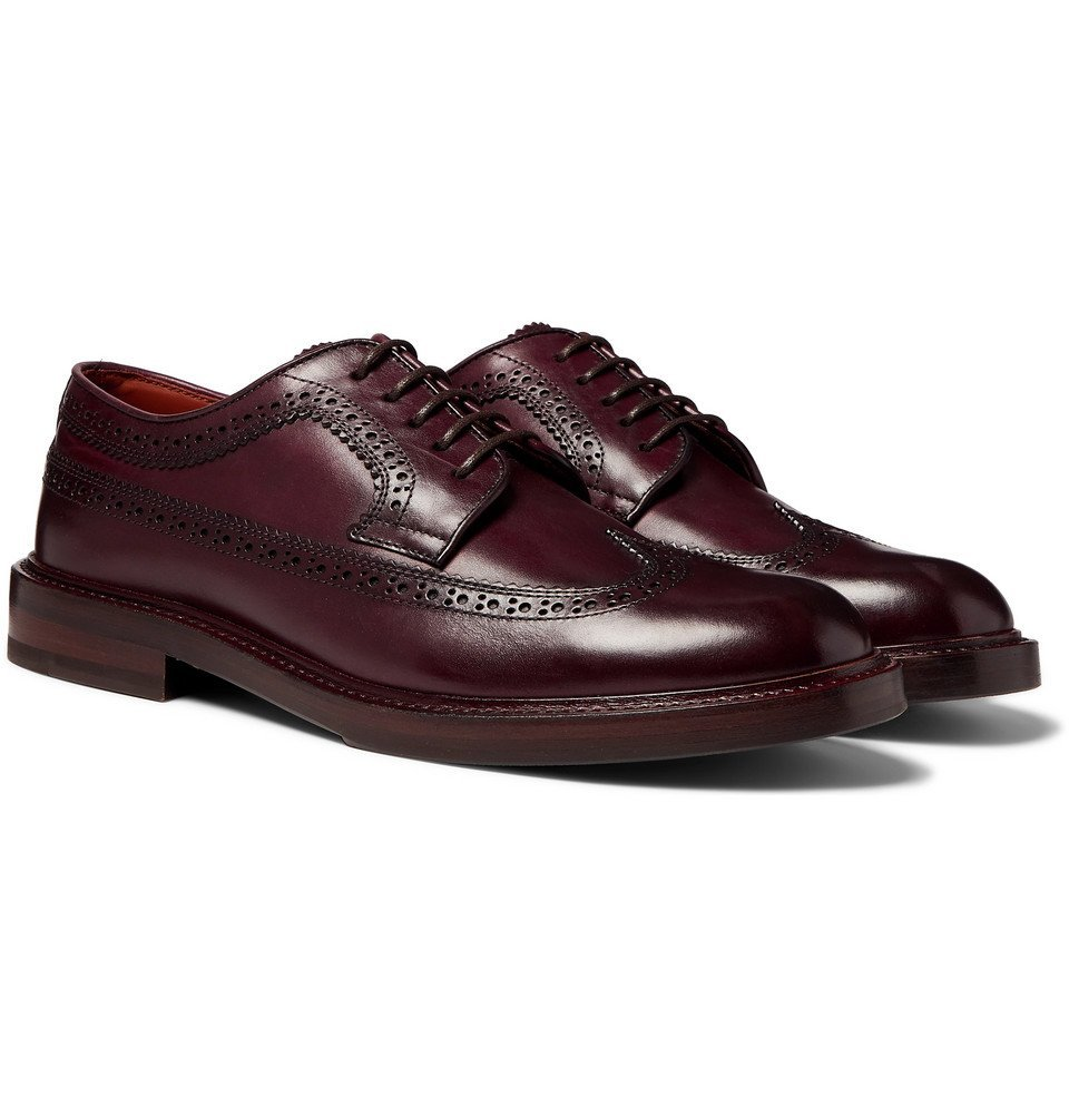 Photo: Brunello Cucinelli - Polished-Leather Longwing Brogues - Merlot