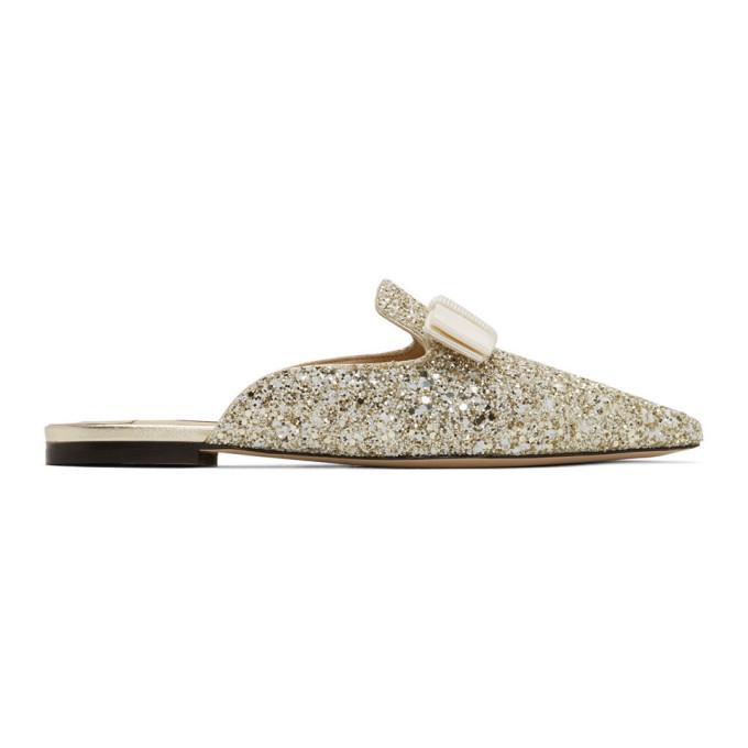 Photo: Jimmy Choo Gold and White Glitter Galaxy Flat Loafers