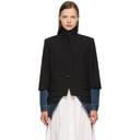 Sacai Black and Blue Denim Suiting Blazer