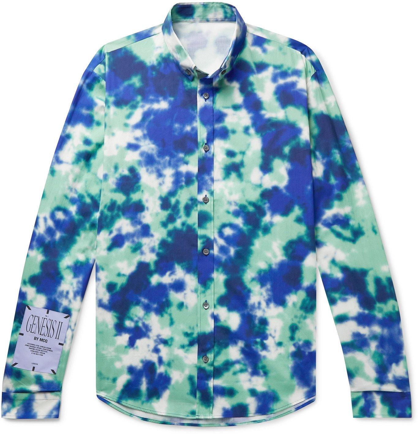 Photo: MCQ - Appliquéd Tie-Dyed Cotton-Poplin Shirt - Blue