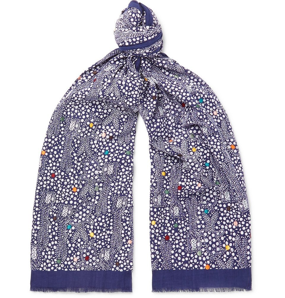 Photo: Paul Smith - Embroidered Printed Cotton-Voile Scarf - Navy