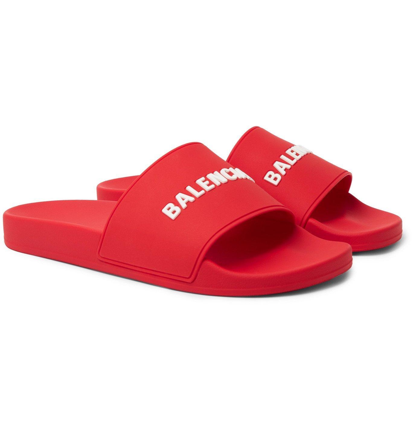 Photo: Balenciaga - Logo-Embossed Rubber Slides - Red