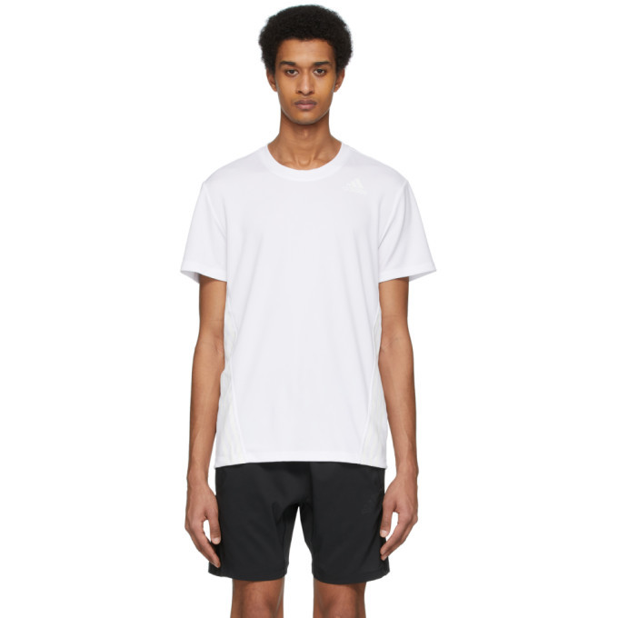 Photo: adidas Originals White Aero 3-Stripes T-Shirt