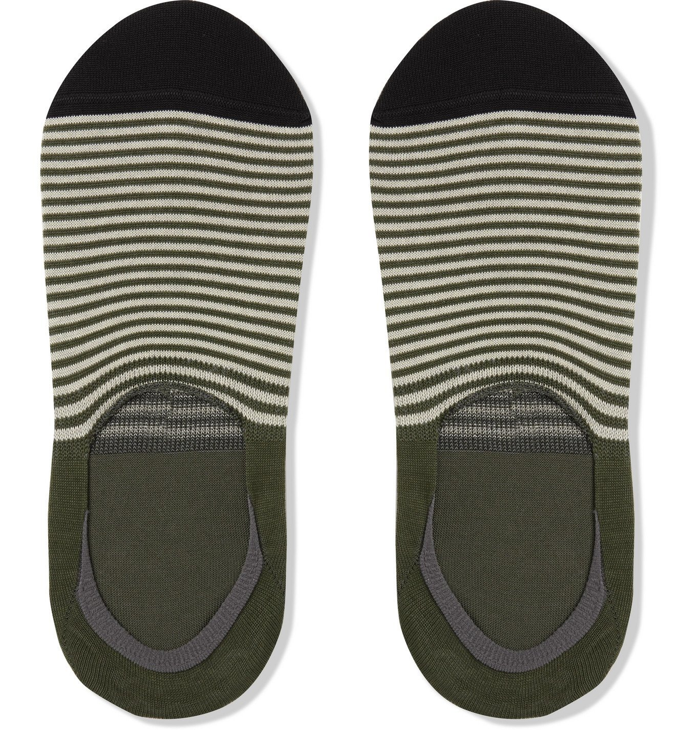 Photo: PAUL SMITH - Striped Stretch Cotton-Blend No-Show Socks - Green