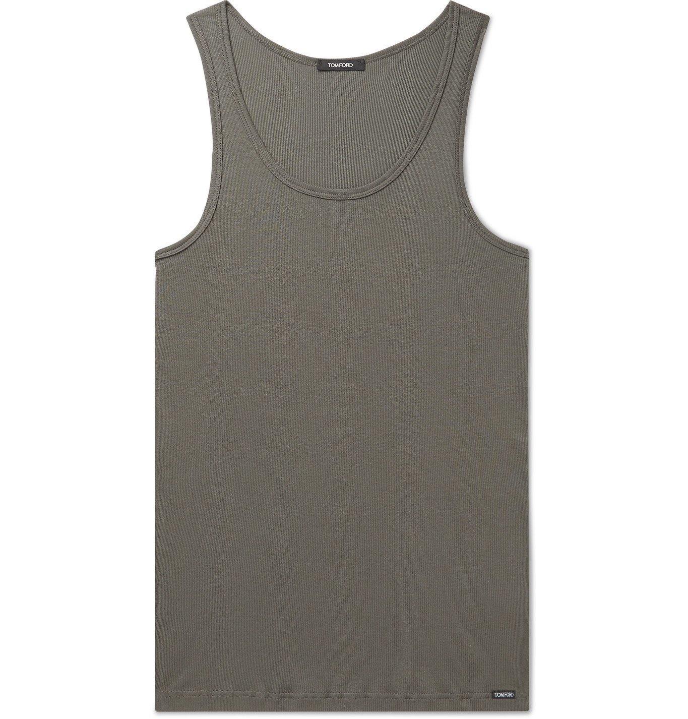 Photo: TOM FORD - Ribbed Cotton and Modal-Blend Tank Top - Green