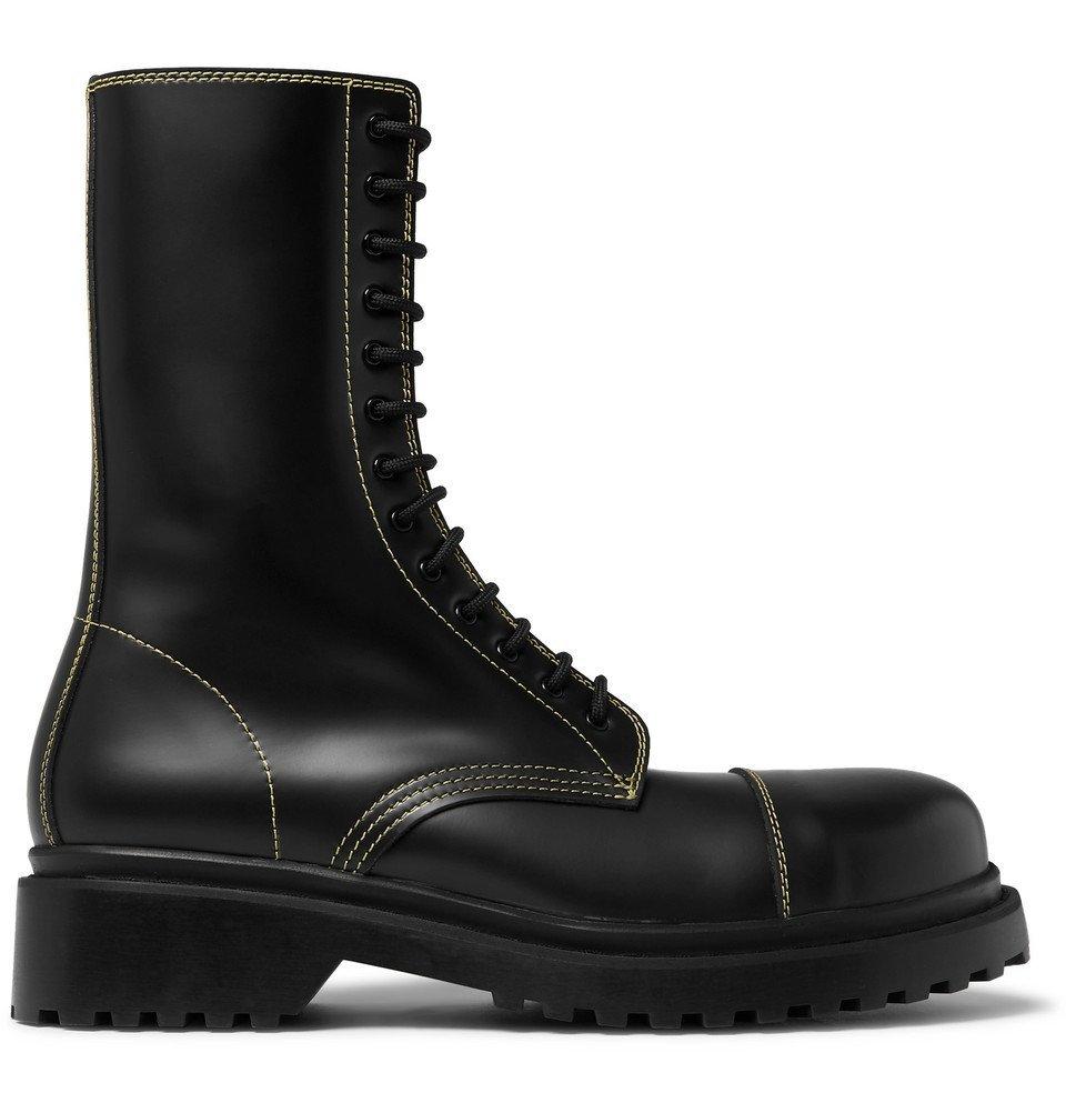 Photo: Balenciaga - Cap-Toe Leather Boots - Black