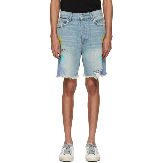 Photo: Amiri Indigo and Multicolor Denim Leaves Shorts