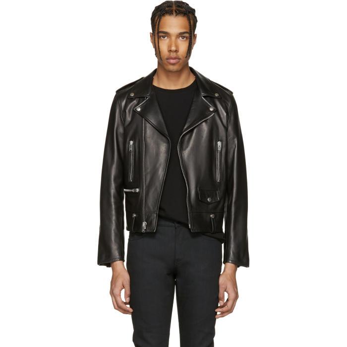 Photo: Saint Laurent Black Leather Biker Jacket