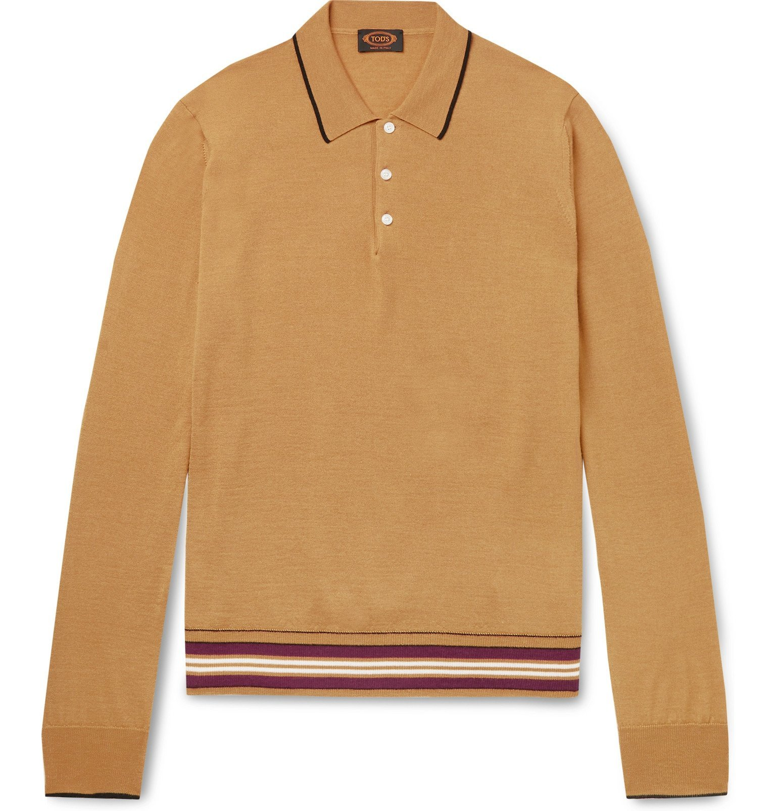 Photo: Tod's - Contrast-Tipped Knitted Merino Wool and Silk-Blend Polo Shirt - Yellow