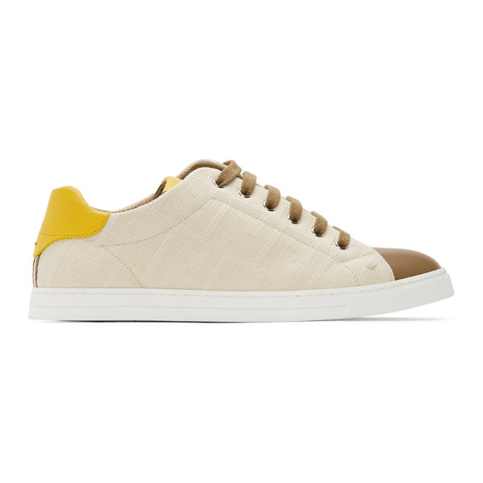 Photo: Fendi Beige and Brown Canvas Leather Sneakers