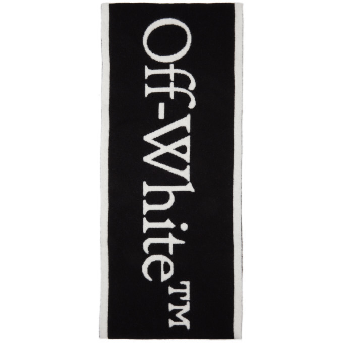 Photo: Off-White Black and White Felted Wool New Logo Scarf