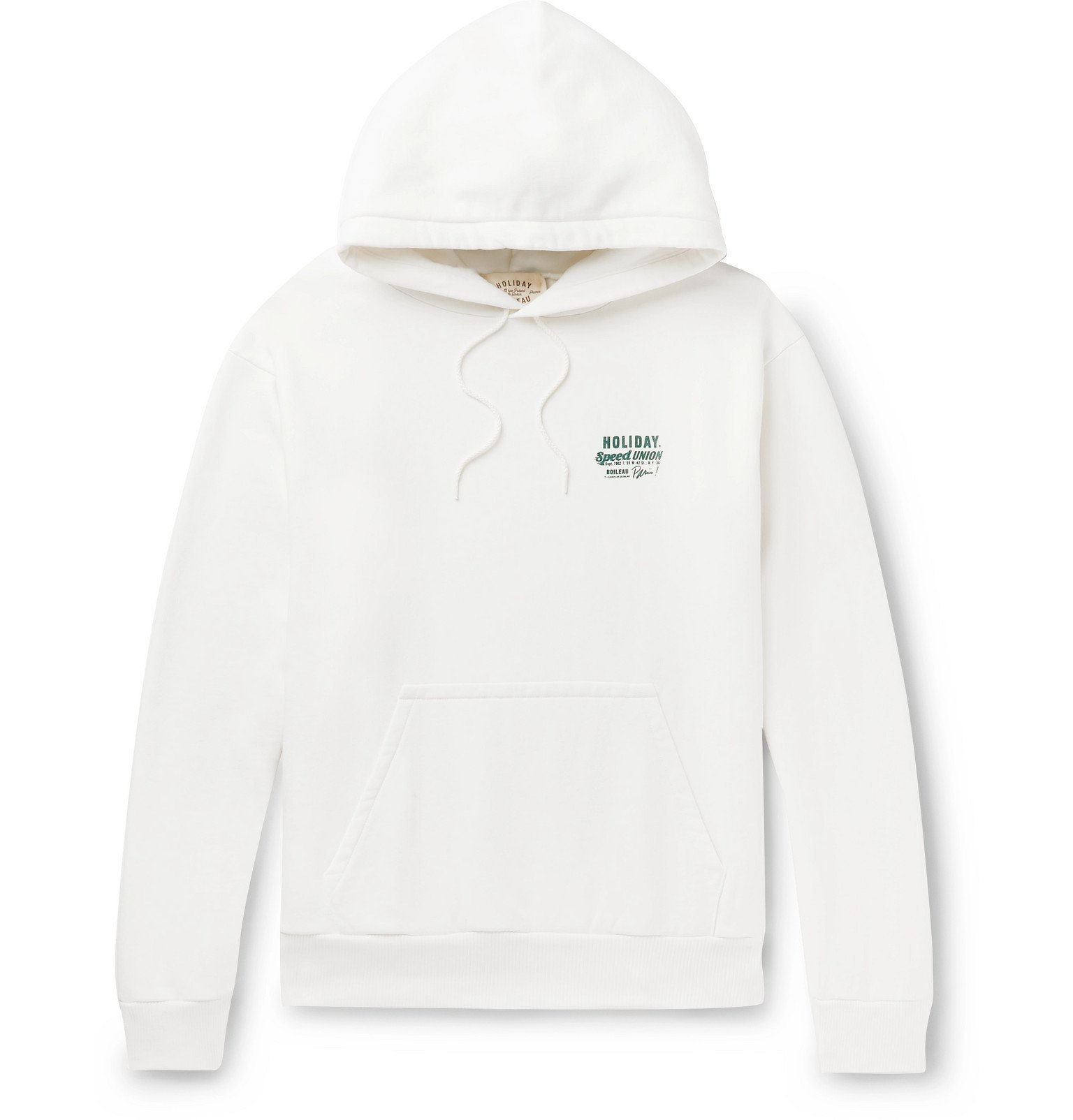 Photo: Holiday Boileau - Printed Loopback Washed-Cotton Jersey Hoodie - White