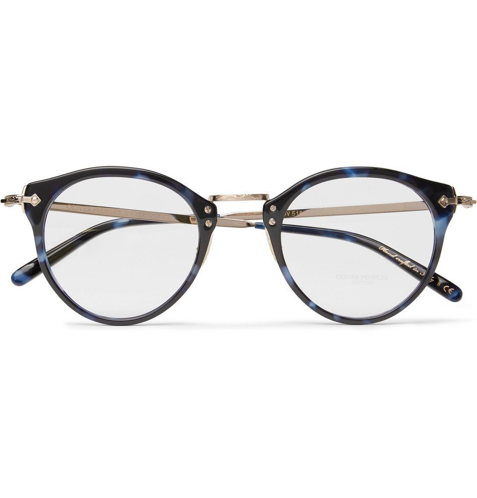 Oliver Peoples - OP-505 Round-Frame Tortoiseshell Acetate and Gold-Tone Optical Glasses - Men - Blue