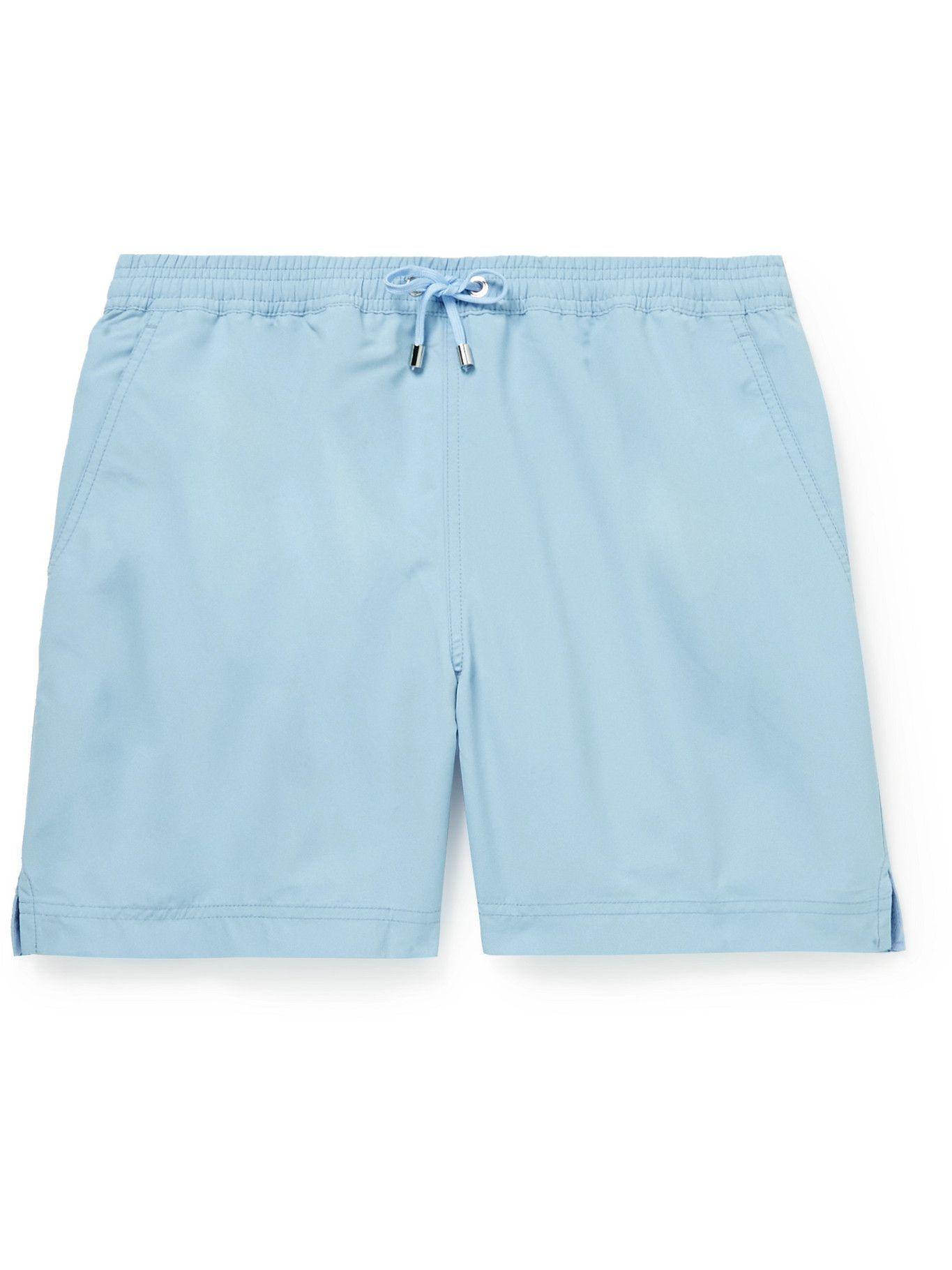 Photo: SUNSPEL - Mid-Length Recycled SEAQUAL Swim Shorts - Blue