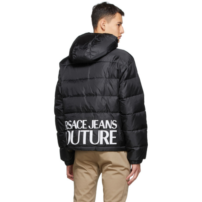 Versace Jeans Couture Reversible Black Down Baroque Puffer Jacket