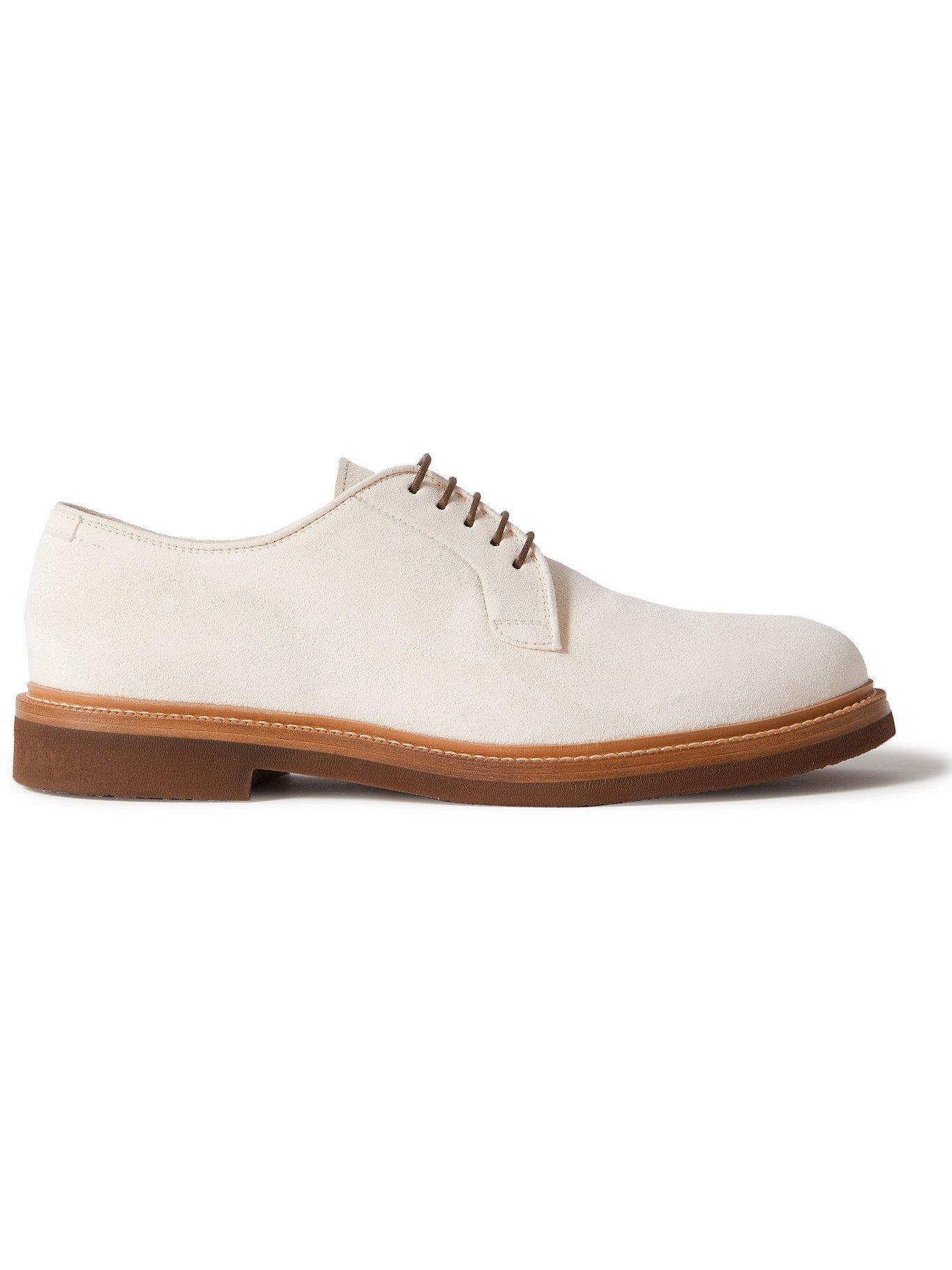 Photo: BRUNELLO CUCINELLI - Suede Derby Shoes - White