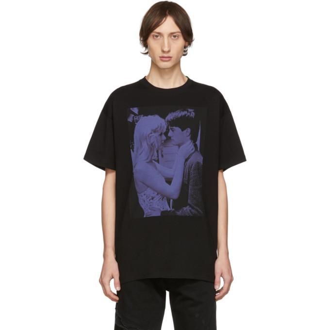 Raf Simons Black Blue Velvet T-Shirt