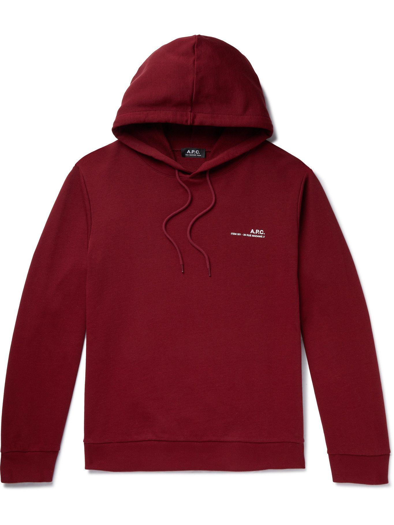 Photo: A.P.C. - Logo-Print Fleece-Back Cotton-Jersey Hoodie - Unknown
