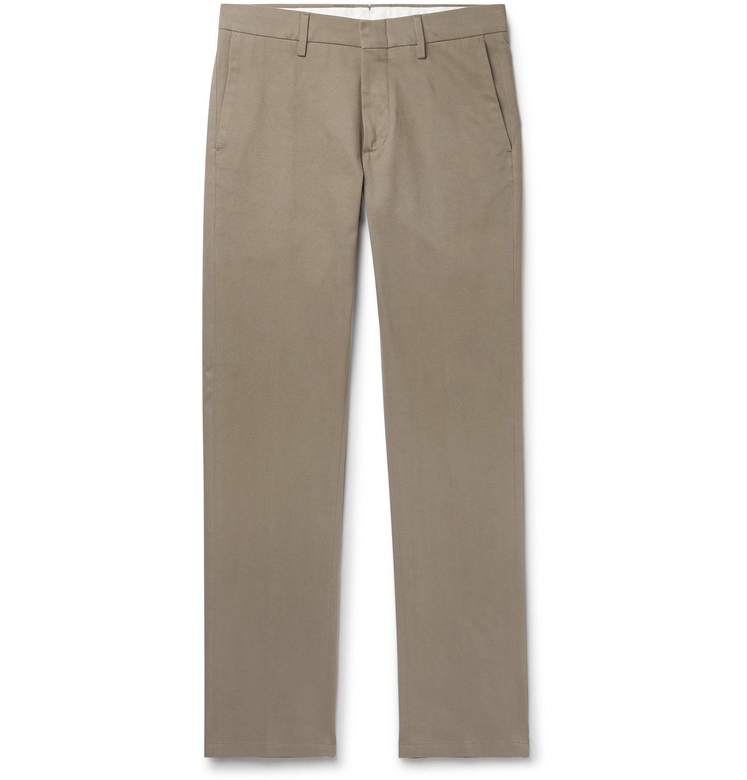 Photo: Dunhill - Navy Slim-Fit Stretch Cotton and Cashmere-Blend Chinos - Neutrals