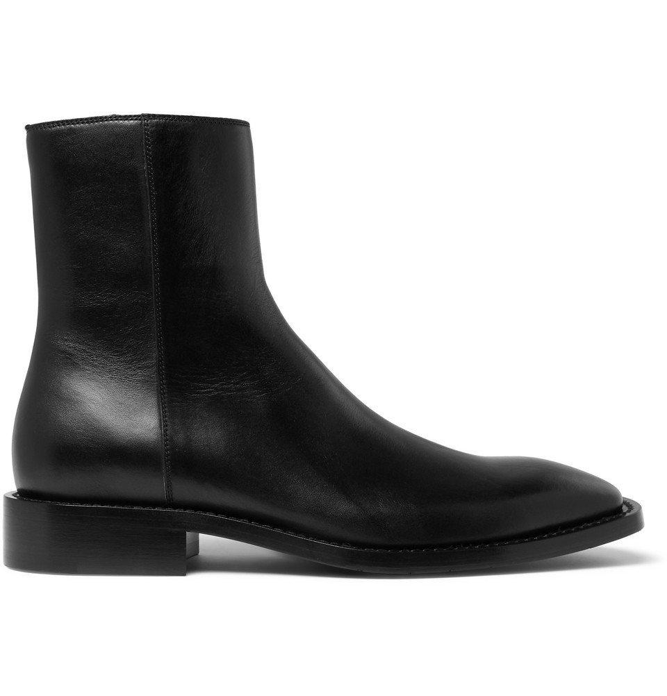 Photo: Balenciaga - Polished-Leather Boots - Black