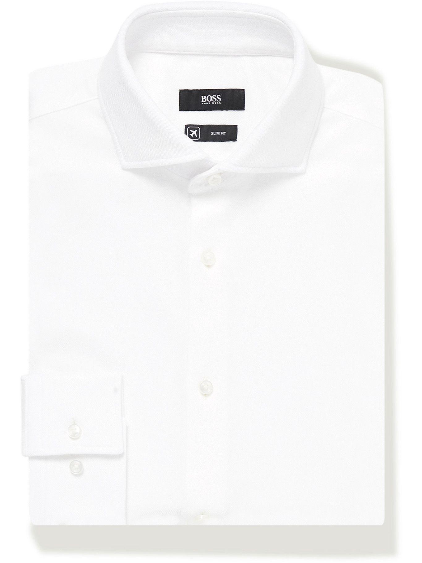 HUGO BOSS - Slim-Fit Textured-Cotton Jersey Shirt - White