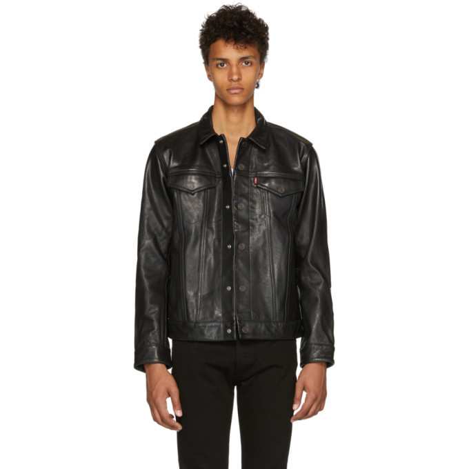 Photo: Levis Black Leather Trucker Jacket