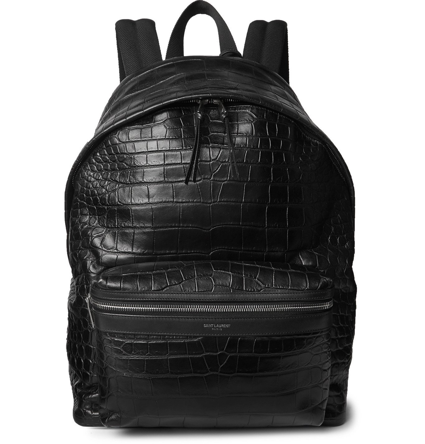 Photo: SAINT LAURENT - City Croc-Effect Leather Backpack - Black