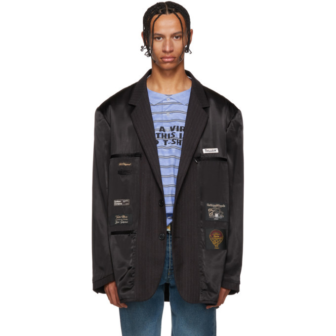 Photo: Vetements Black and Grey Oversized Lining Blazer