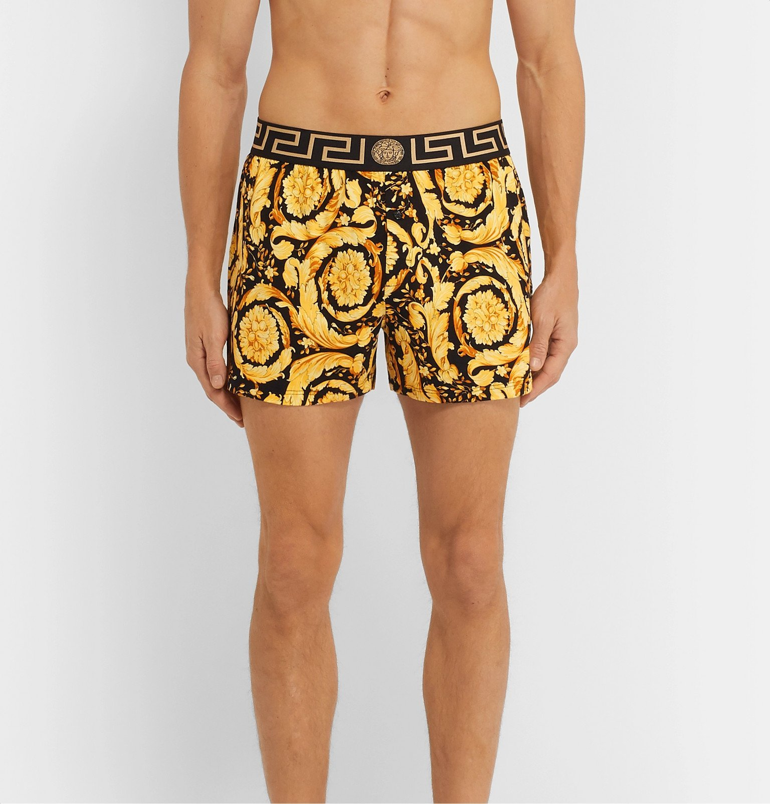 Versace - Slim-Fit Printed Stretch-Cotton Boxer Shorts - Yellow