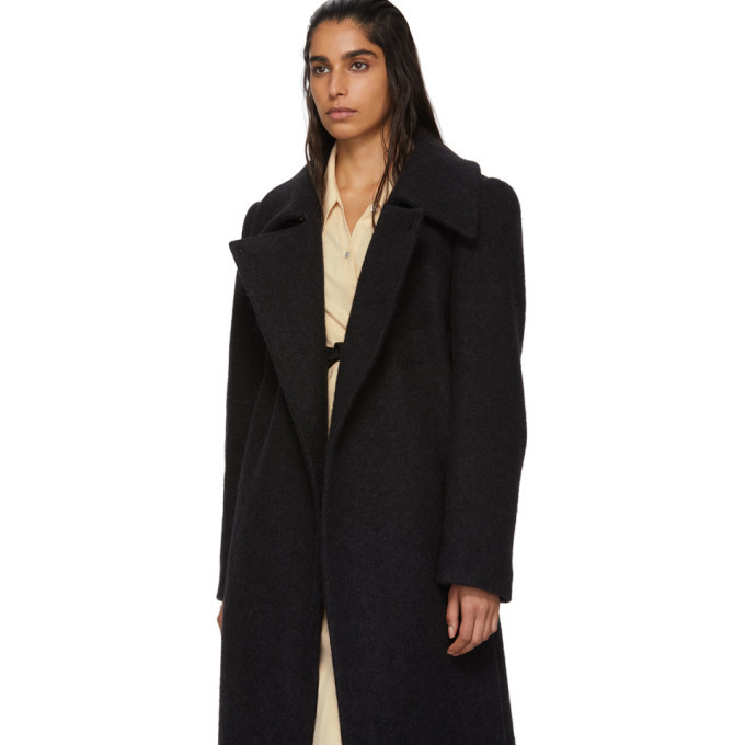 Lemaire Black Wool and Mohair Fitted Coat