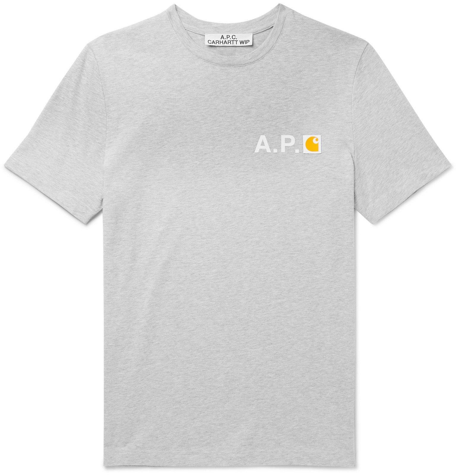 Photo: A.P.C. - Carhartt WIP Logo-Appliquéd Mélange Cotton-Jersey T-Shirt - Gray
