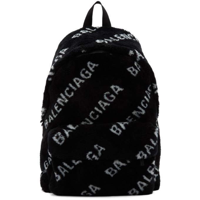 Photo: Balenciaga Black Faux-Fur Diagonal Everyday Backpack