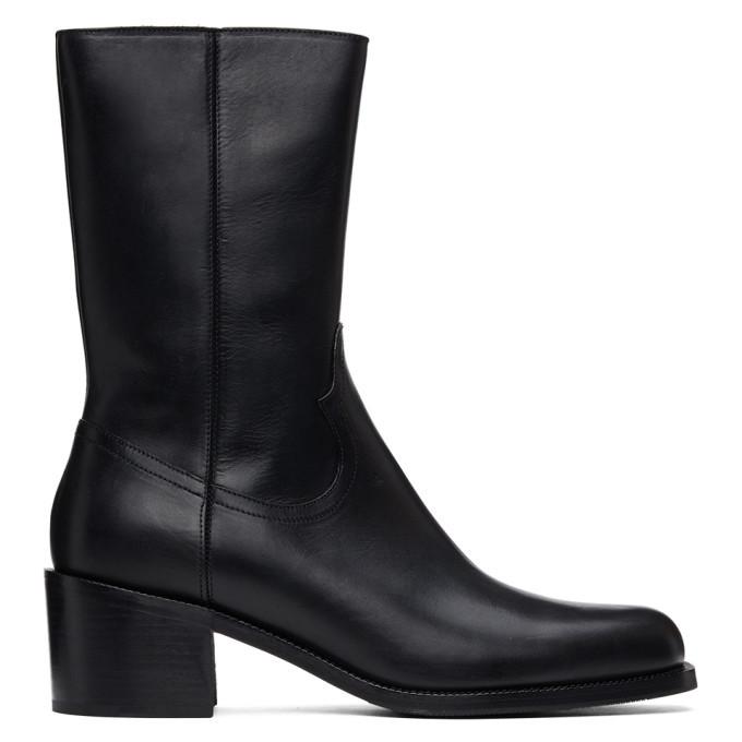 Photo: Dries Van Noten Black Leather Zip-Up Boots